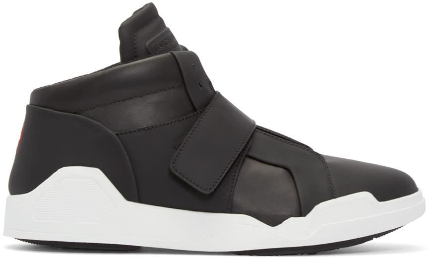 Marcelo Burlon County Of Milan Black Leather Libertad Mid-top Sneakers