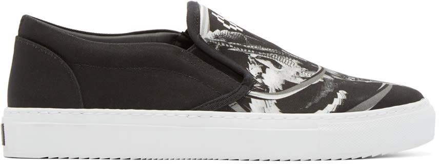 Marcelo Burlon County Of Milan Black Printed Aurora Slip-on Sneakers
