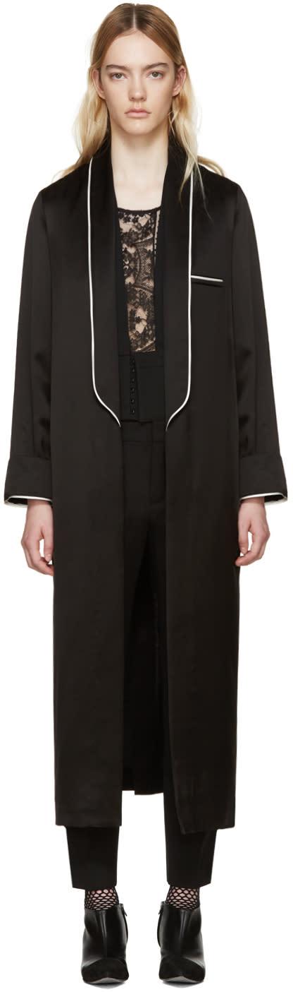 Haider Ackermann Black Satin Peignoir Coat