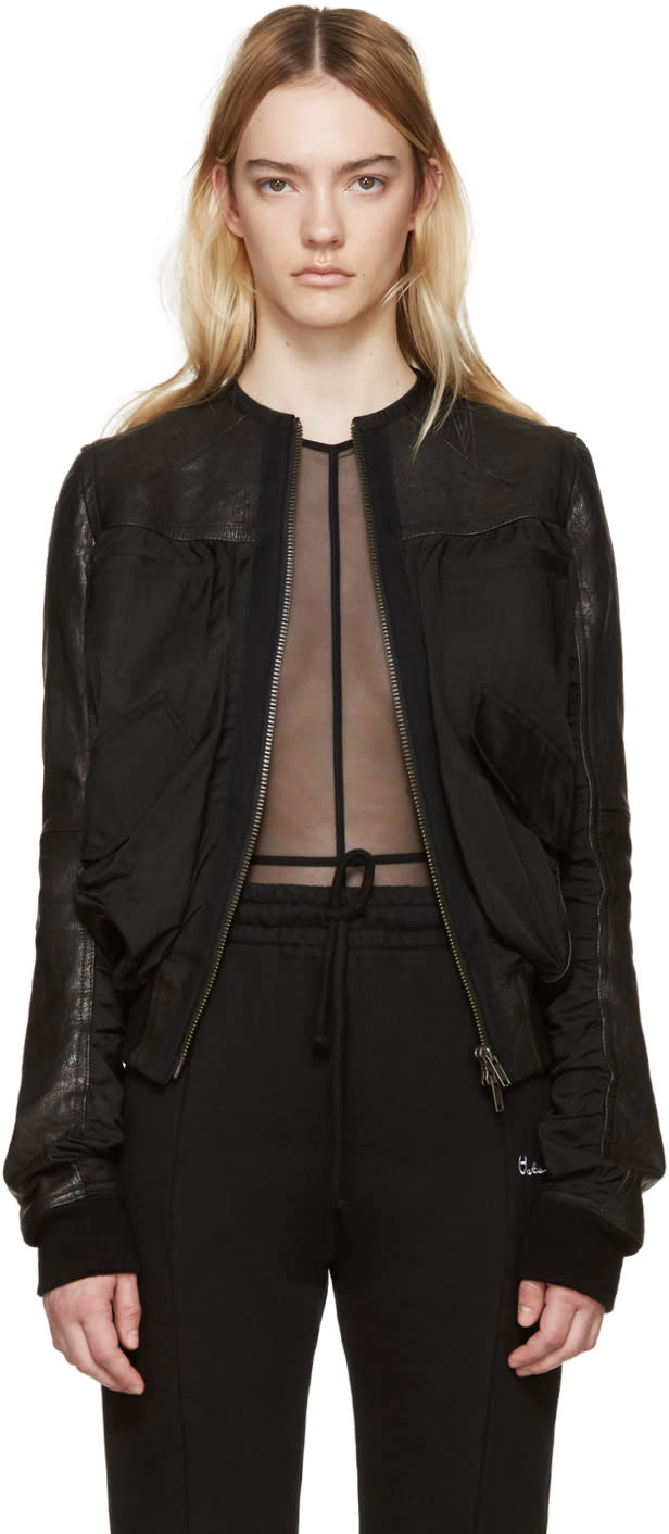 Haider Ackermann Black Leather Bomber Jacket
