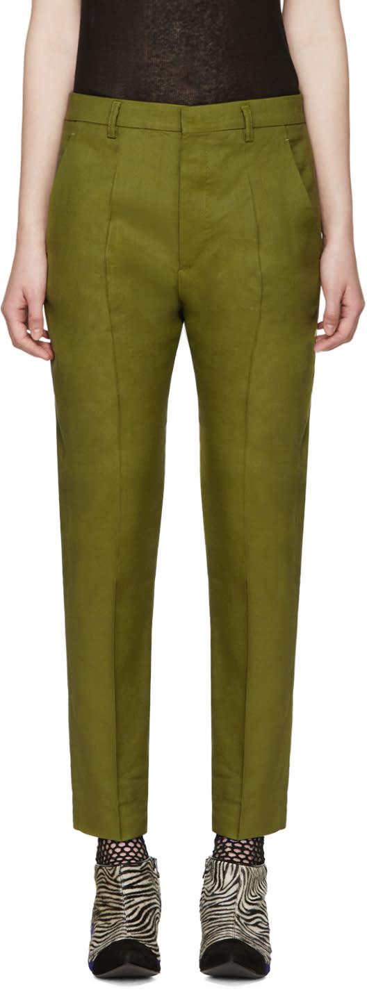 Haider Ackermann Green Linen Koa Trousers