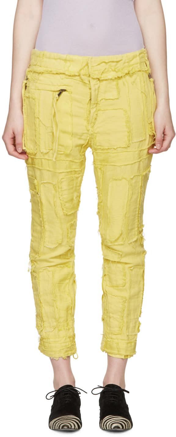 Haider Ackermann Yellow Patchwork Biker Trousers