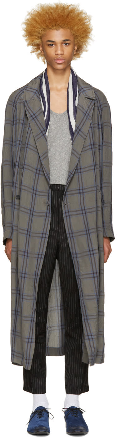 Haider Ackermann Taupe and Blue Check Coat