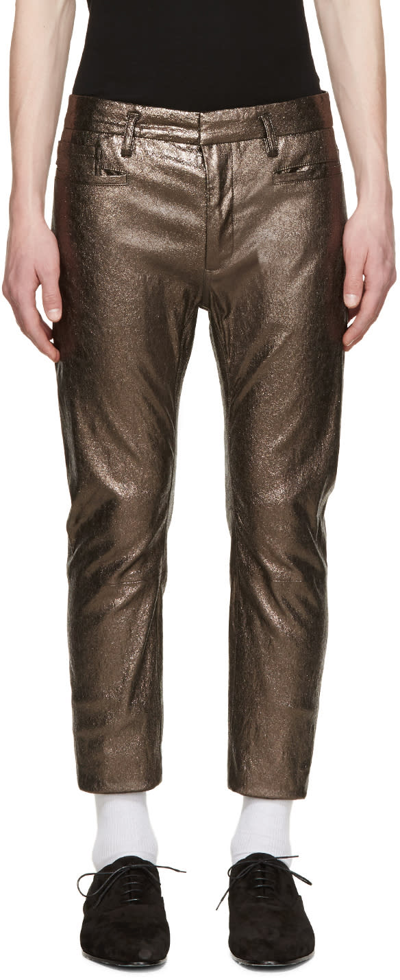 Haider Ackermann Silver Leather Pants