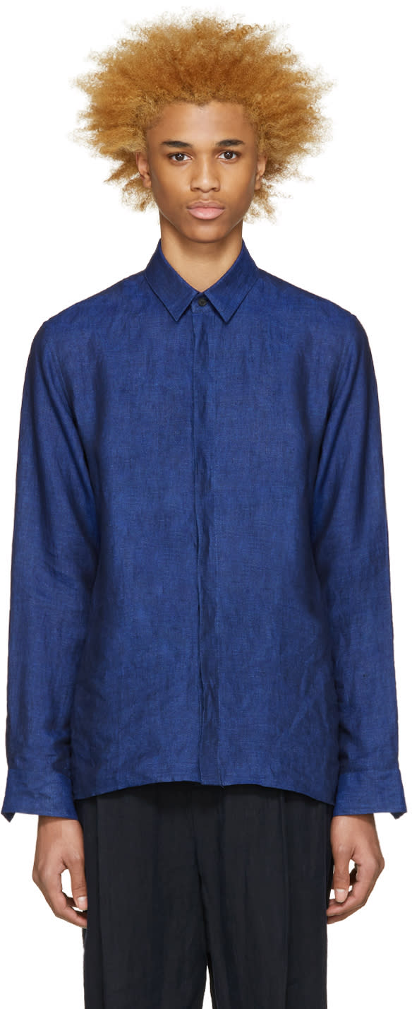 Haider Ackermann Navy Linen Shirt