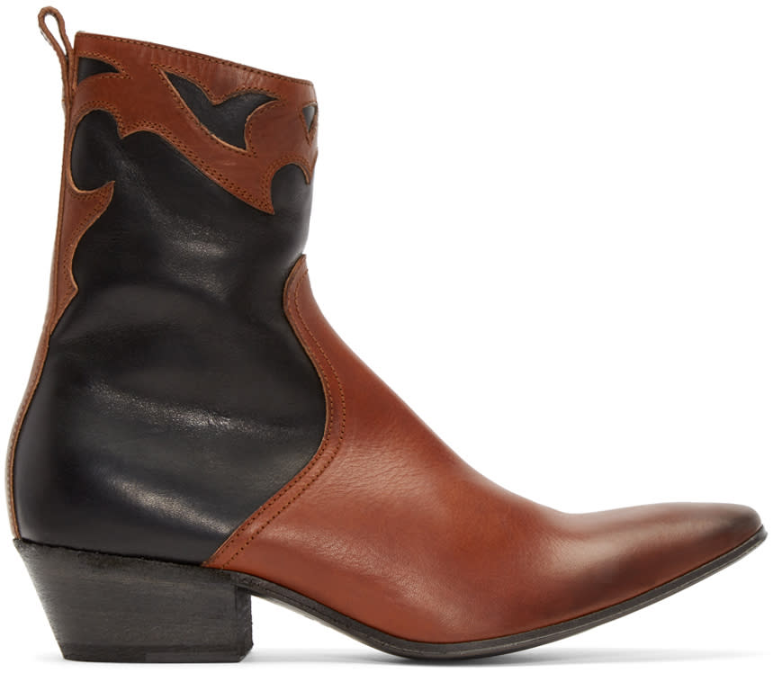 Haider Ackermann Black and Brown Western Boots