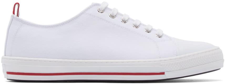 Moncler Gamme Bleu White Canvas Sneakers