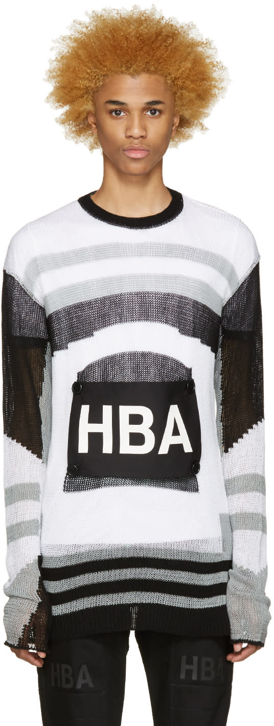 Hood By Air Tricolor Striped Moma Patch Sweater