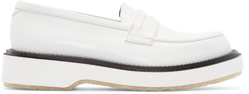 Adieu White Leather Type 5 Penny Loafers