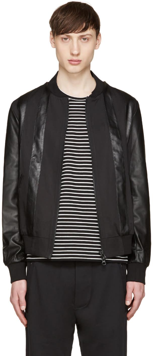 Giuliano Fujiwara Black Twill and Leather Bomber Jacket