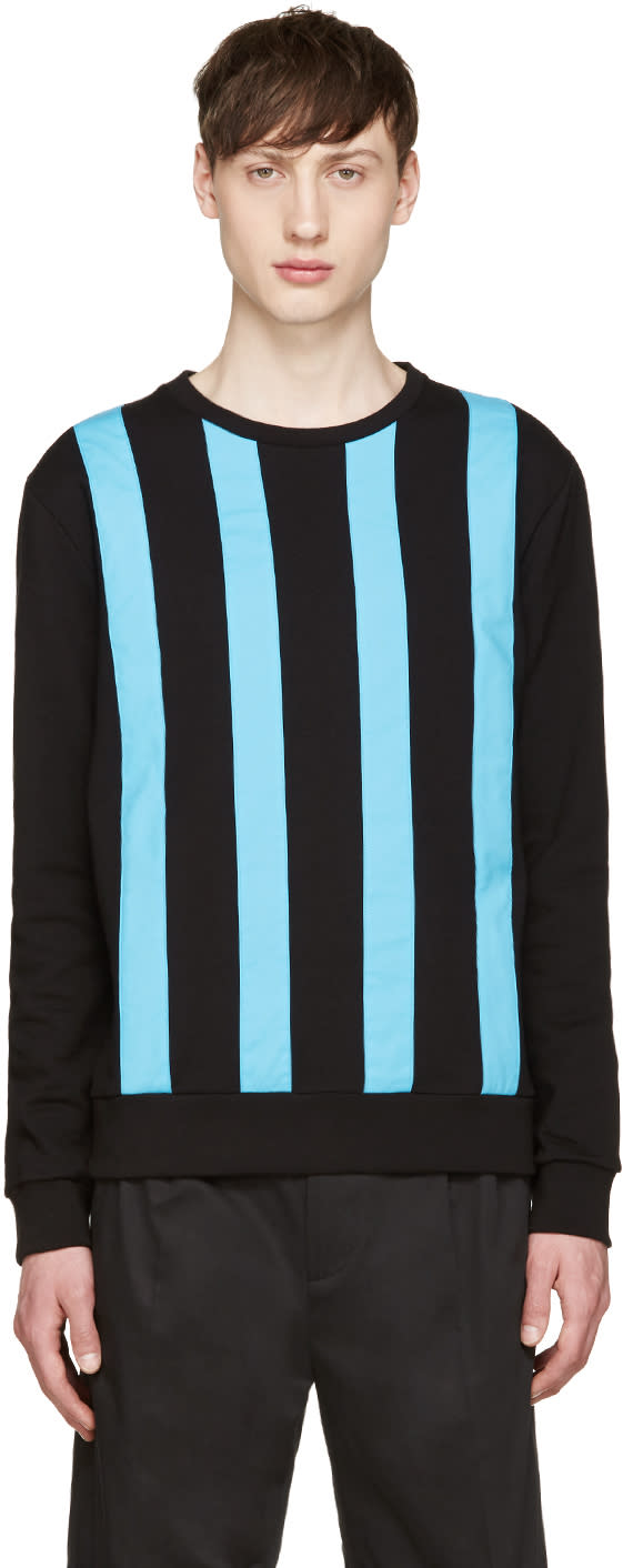 Image of Giuliano Fujiwara Black and Turquoise Striped Pullover