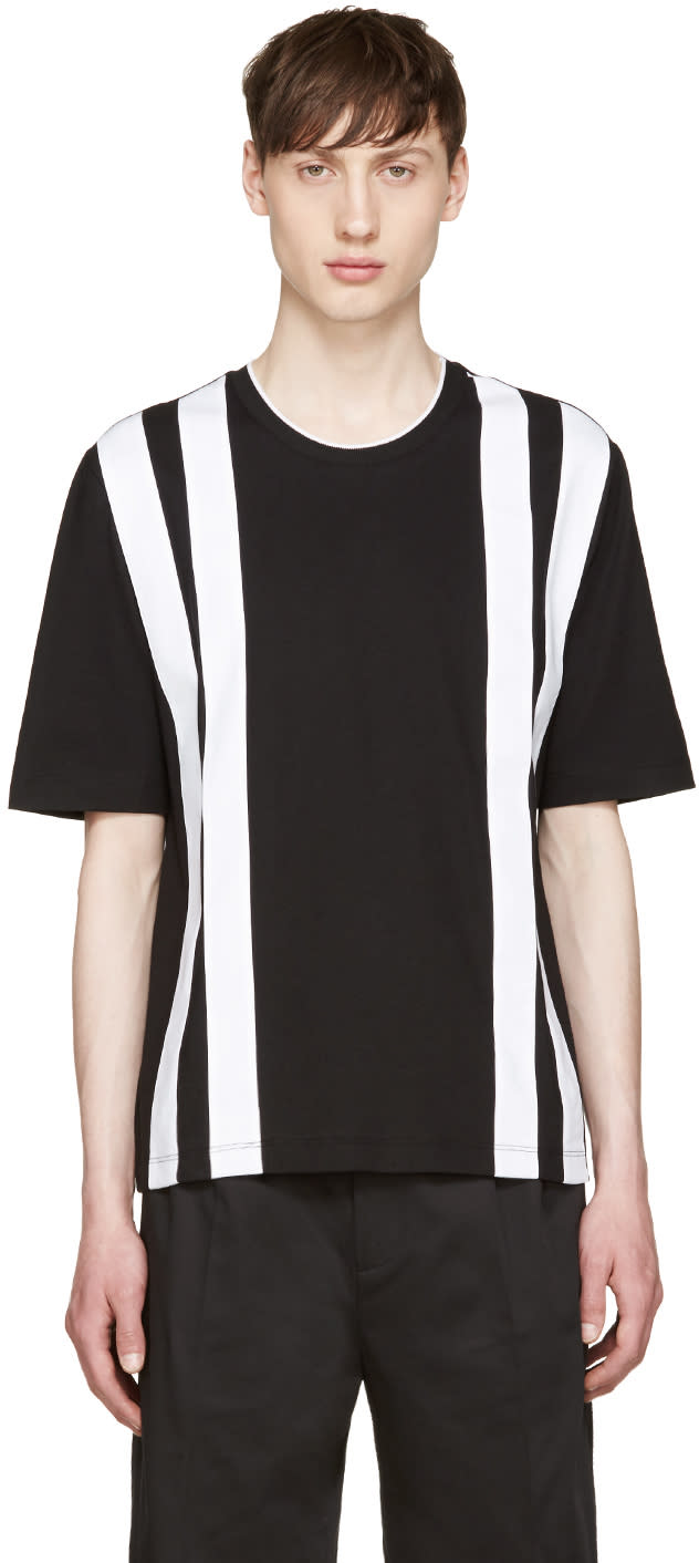Giuliano Fujiwara Black and White Striped T-shirt