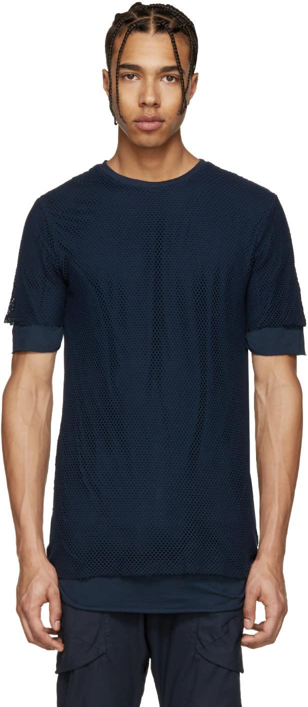 Alexandre Plokhov Navy Layered Mesh T-shirt