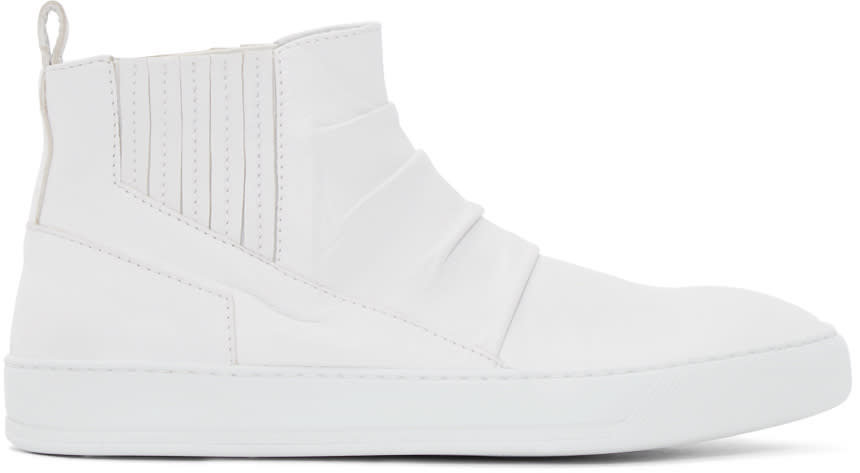 Alexandre Plokhov White Creased Leather Mid-top Sneakers