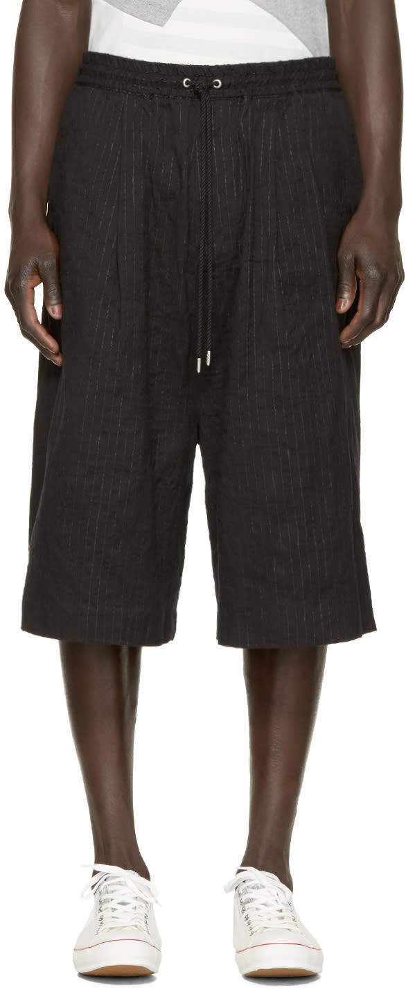 Miharayasuhiro Black Paper Stripe Shorts