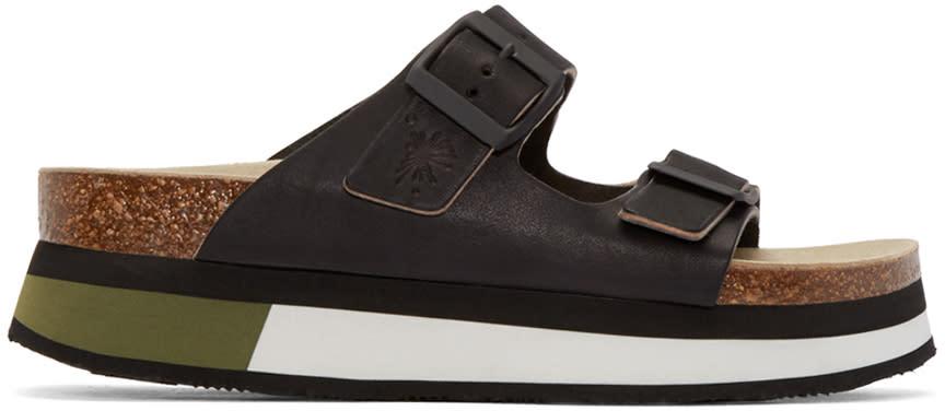Miharayasuhiro Black Leather Sports Sandal