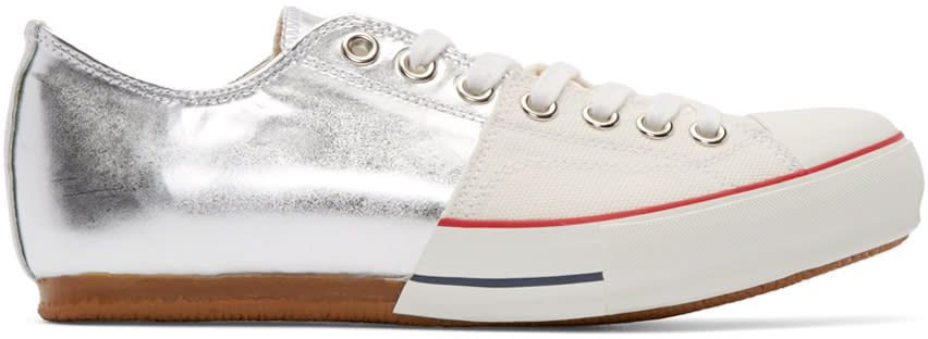 Miharayasuhiro Silver Canvas and Leather Half Sneakers