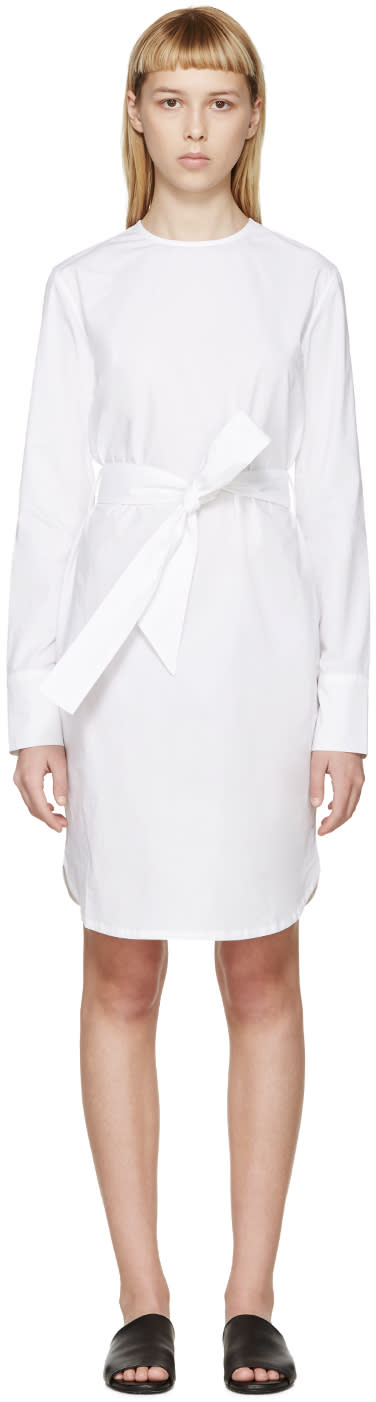 Each X Other White Poplin Belted Dress