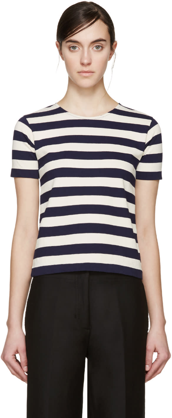 Nlst Navy and Cream Striped T-shirt