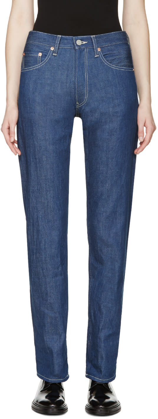Yohji Yamamoto Blue High-rise Jeans