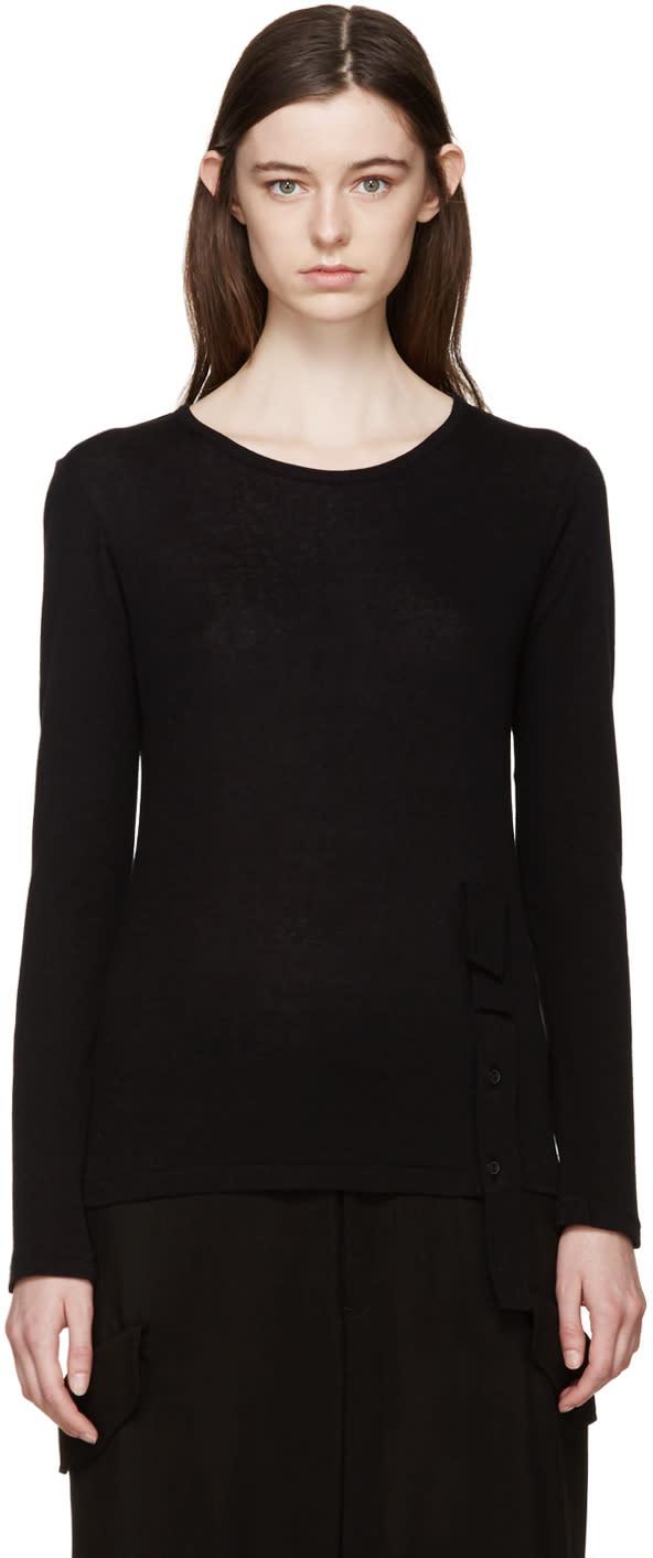 Yohji Yamamoto Black Button Placket T-shirt
