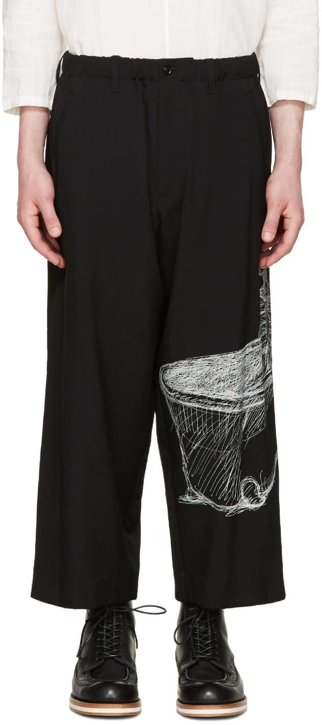 Yohji Yamamoto Black Wool Drawing Trousers