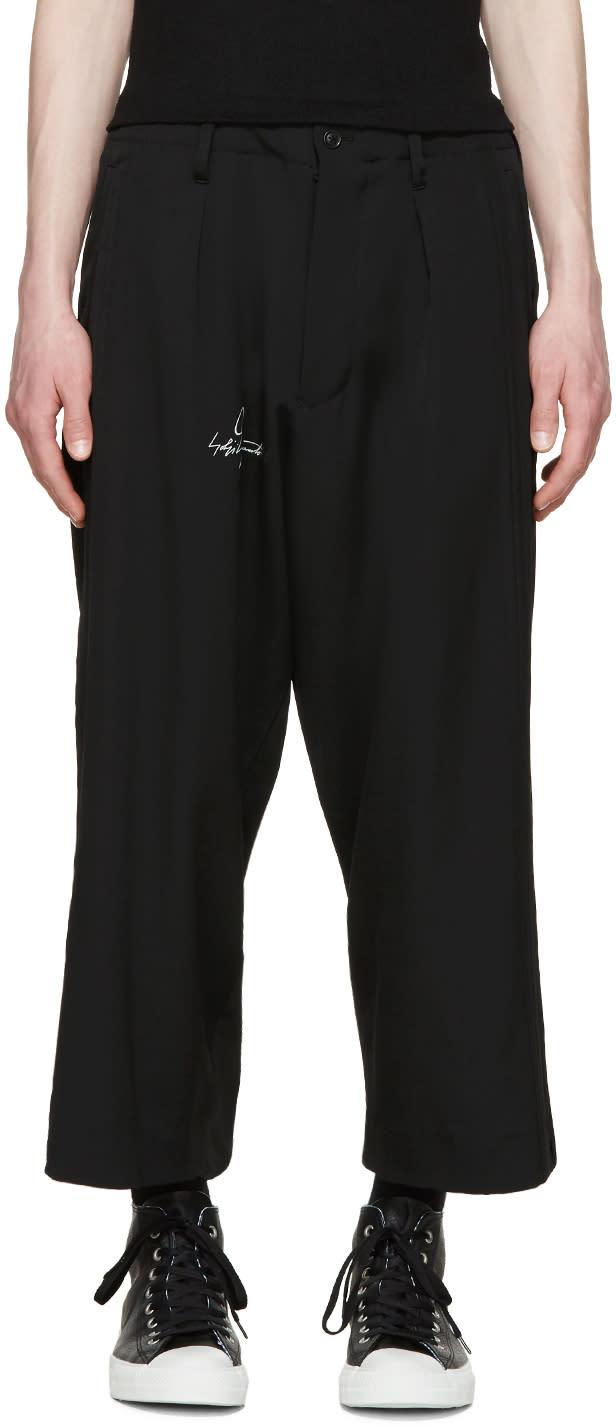 Yohji Yamamoto Black Wool Logo Trousers