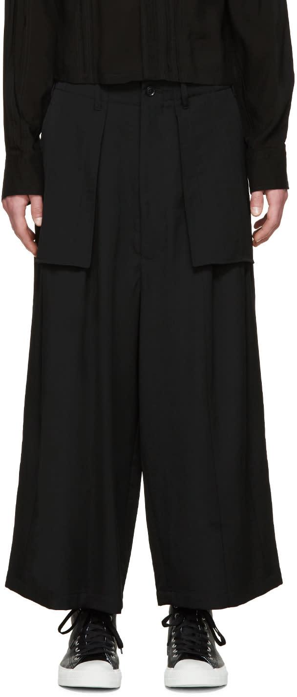 Yohji Yamamoto Black Wool Panelled Trousers