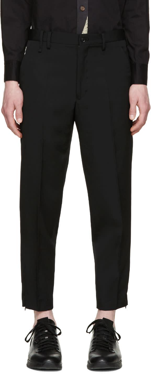 Yohji Yamamoto Black Cropped Skinny Trousers