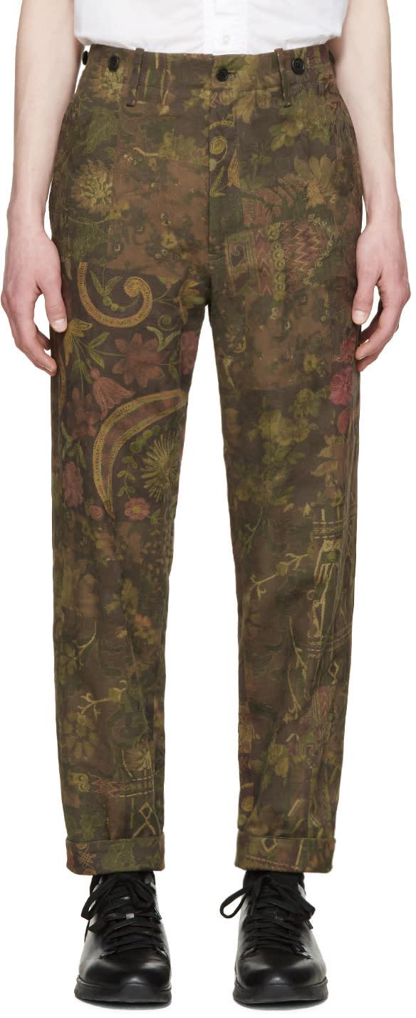 Yohji Yamamoto Khaki Printed Jacquard Trousers