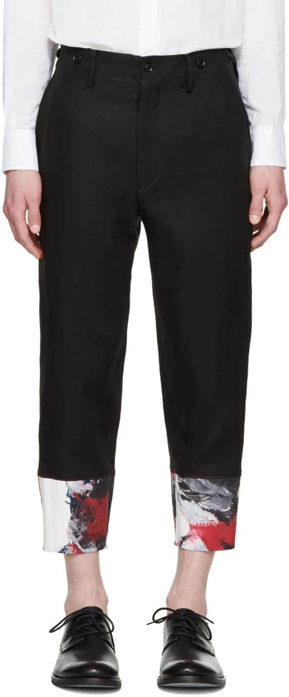 Yohji Yamamoto Black Painted Cuff Trousers