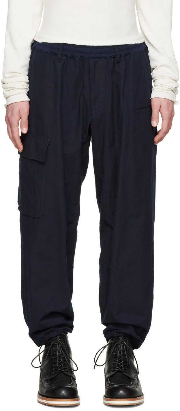 Yohji Yamamoto Navy Drawstring Trousers