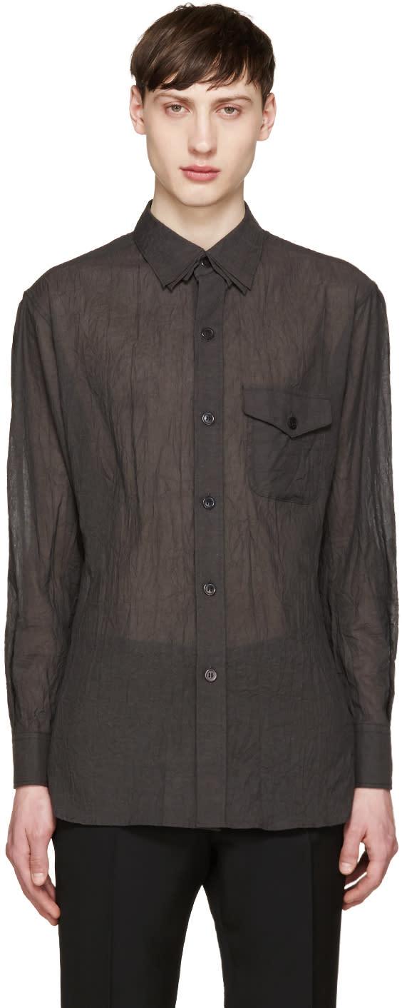 Yohji Yamamoto Grey Wrinkled Voile Shirt