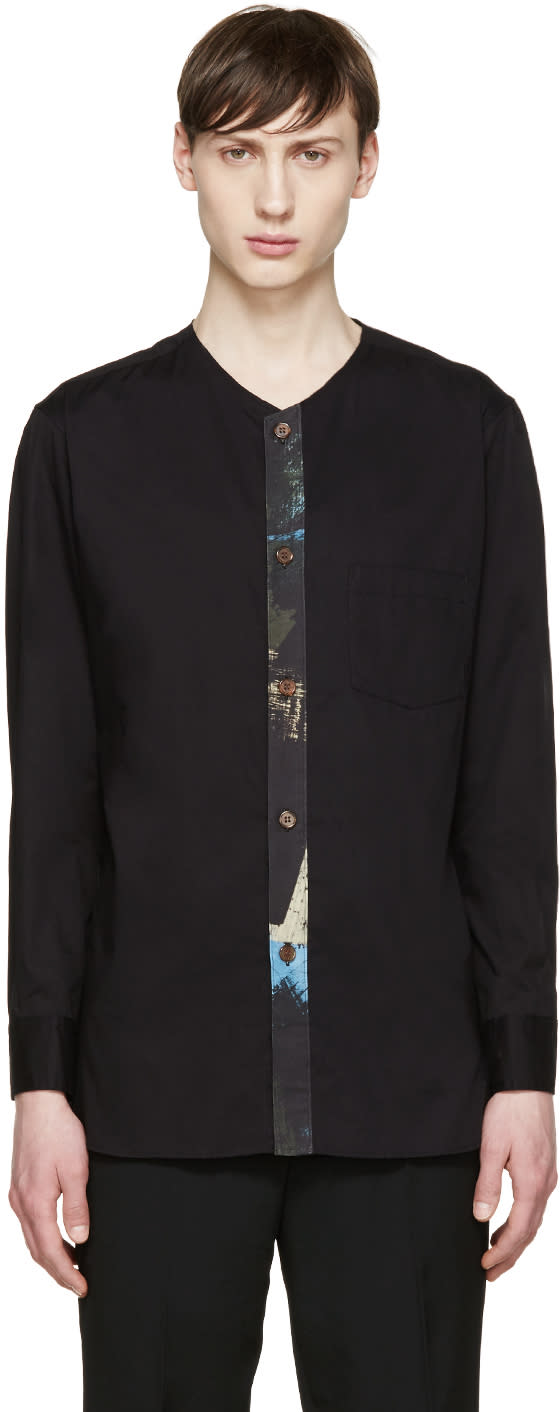 Yohji Yamamoto Black Collarless Shirt