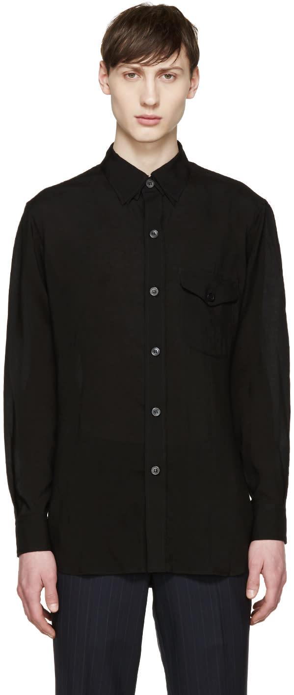 Yohji Yamamoto Black Triple Collar Shirt