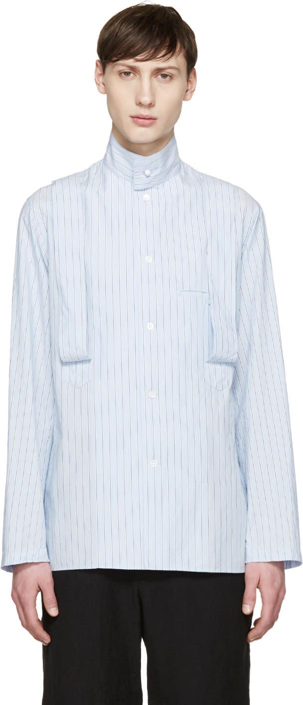 Yohji Yamamoto Blue Striped Suspender Shirt
