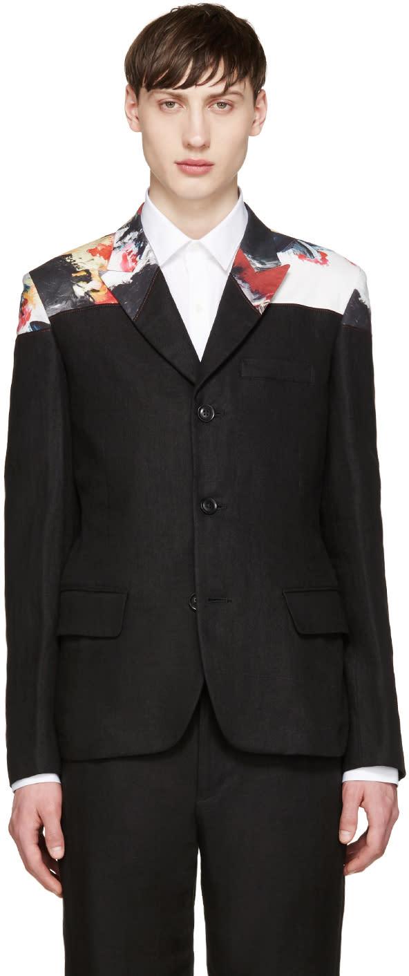 Yohji Yamamoto Black Linen Paint Blazer