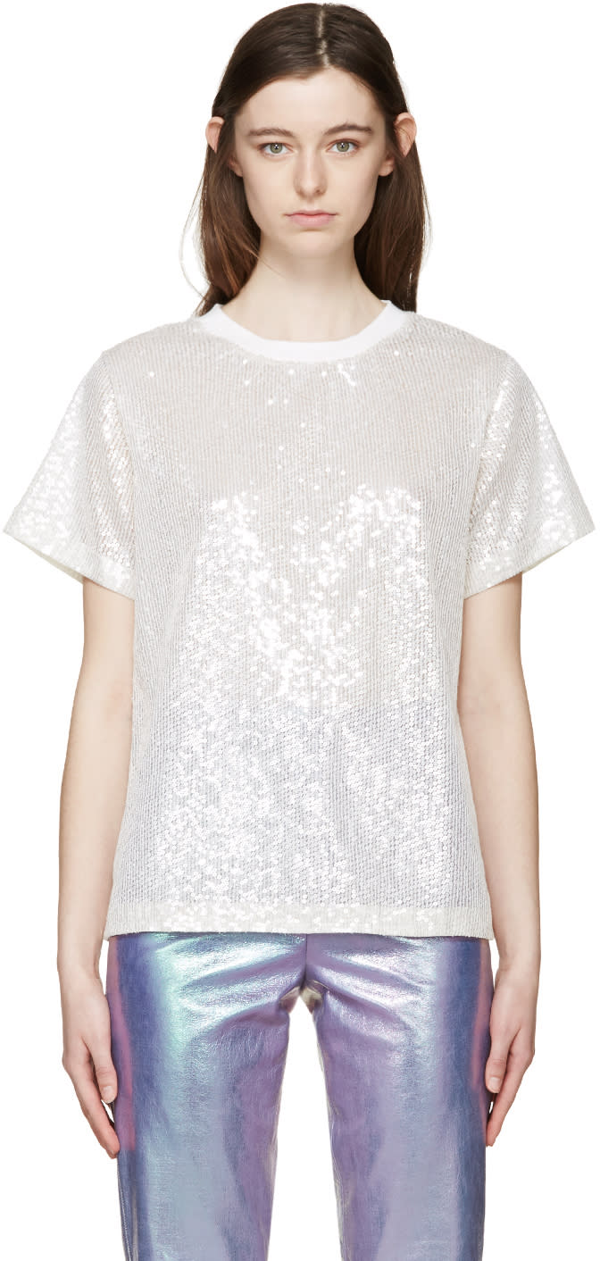 Image of Ashish Off-white Sequin Mesh T-shirt