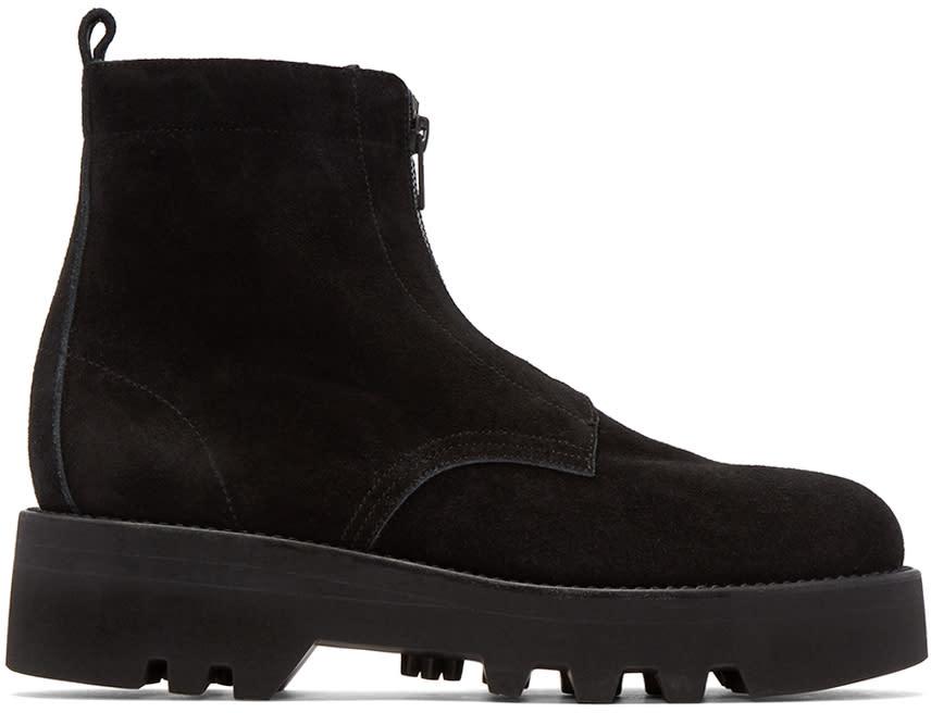 Lad Musician Black Suede Combat Boots