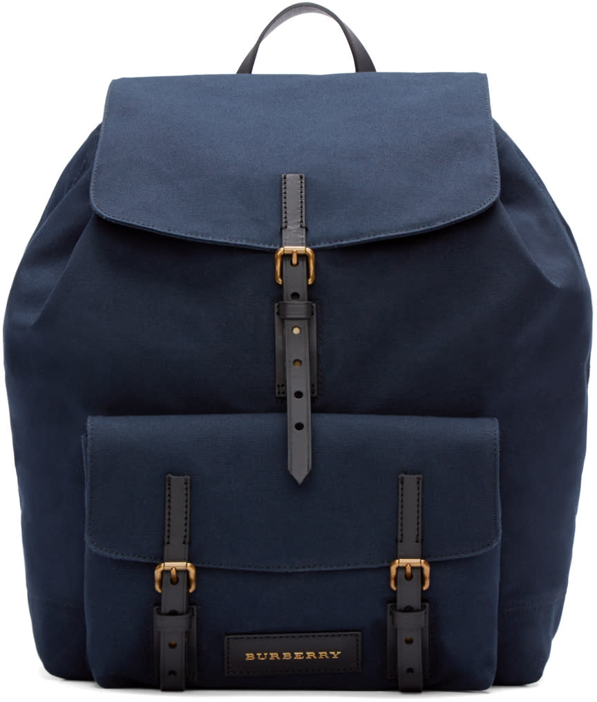 Burberry London Navy Canvas Brookdale Backpack