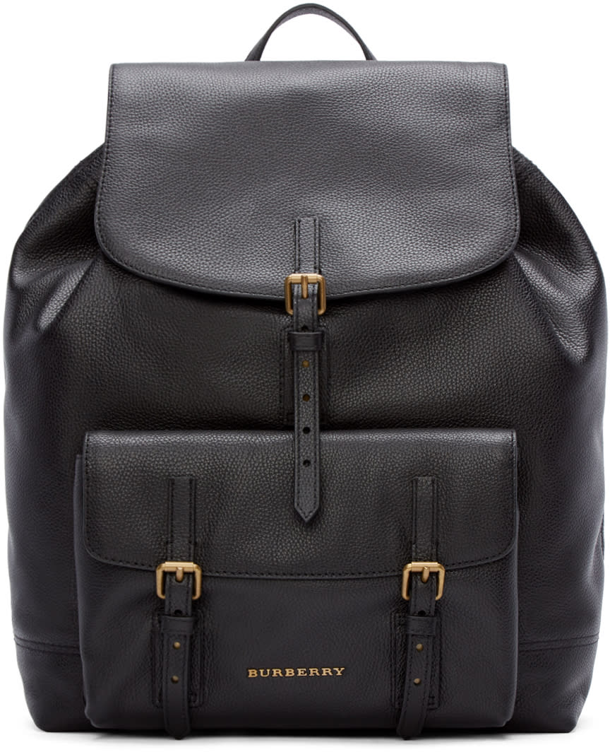 Burberry London Black Leather Brookdale Backpack