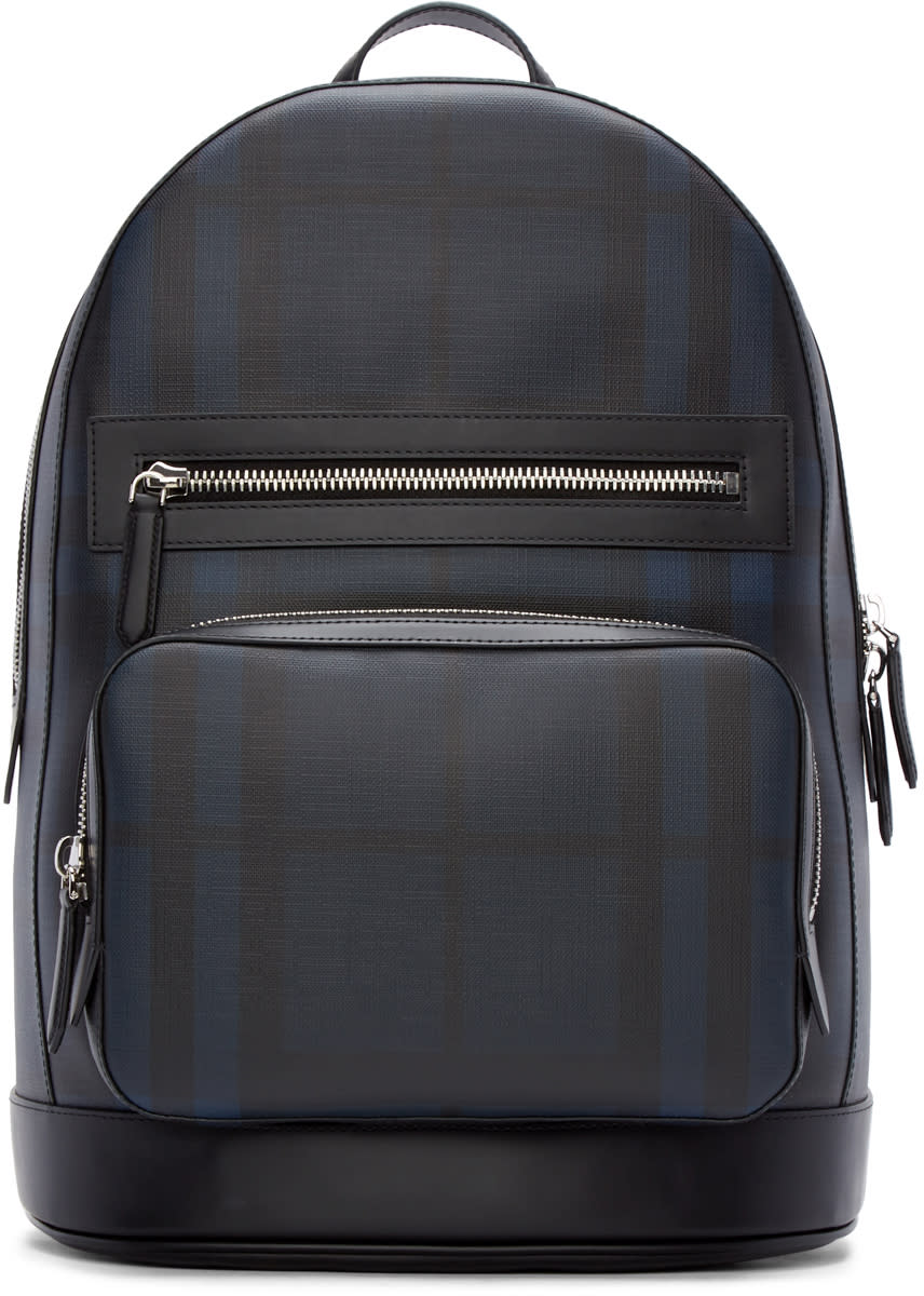 Burberry London Black and Blue Check Marden Backpack