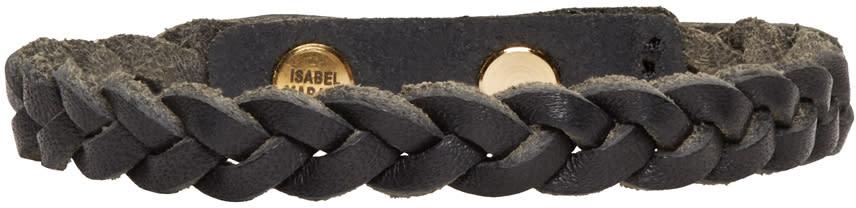 Isabel Marant Black Braided Leather Reading Bracelet
