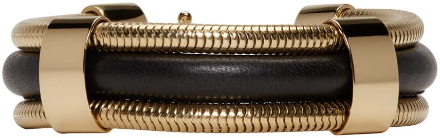 Isabel Marant Black and Gold Leather Caravanes Bracelet