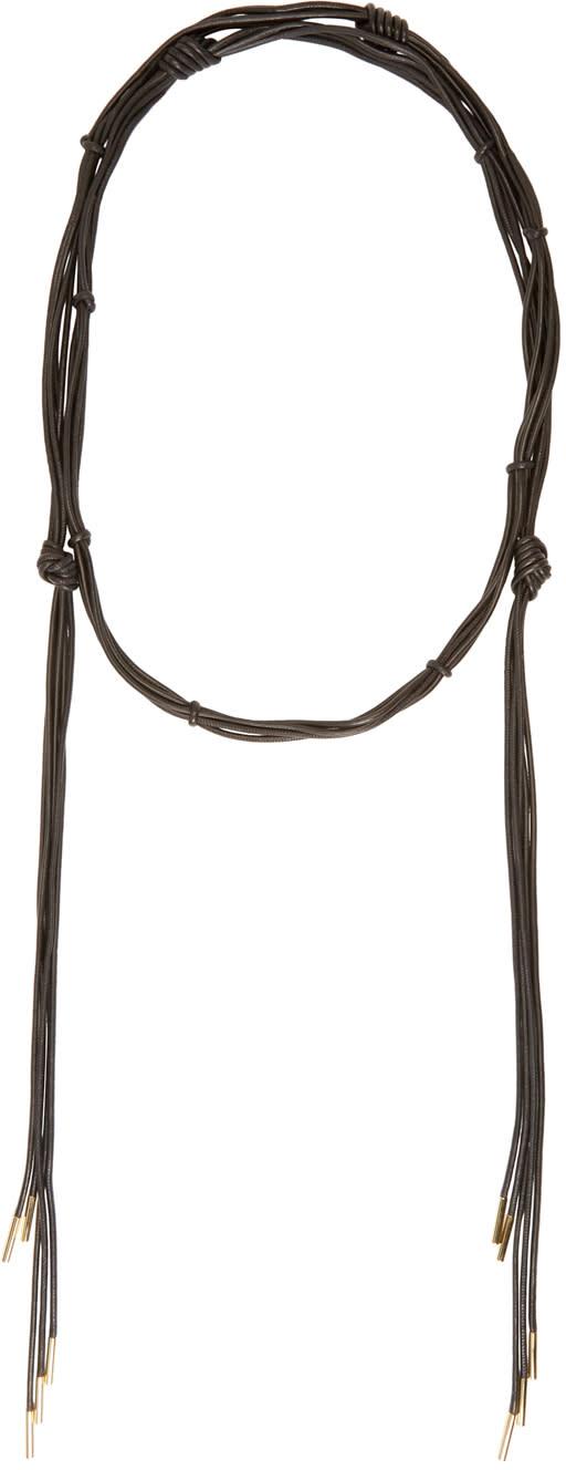 Isabel Marant Black Leather Wrap Caravanes Necklace