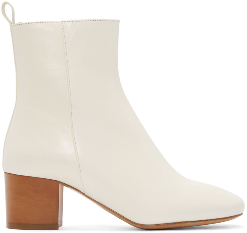 Isabel Marant Cream Leather Deyis Ankle Boots