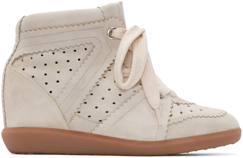 Isabel Marant Grey Suede Bobby Wedge Sneaker