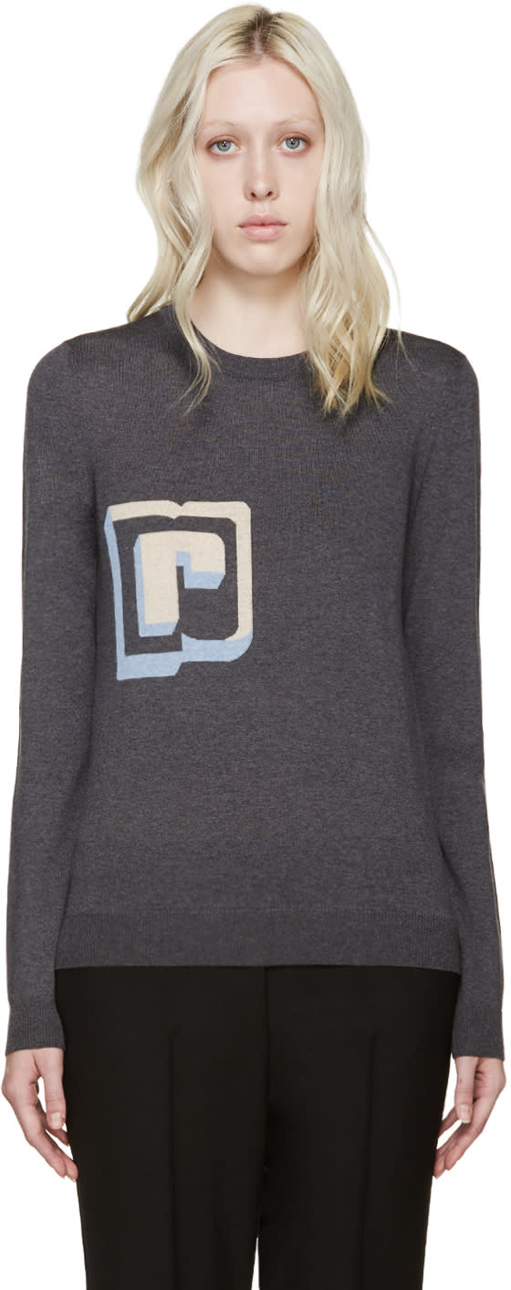 Paco Rabanne Grey Wool Intarsia R Pullover