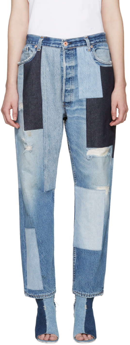 Off-white Blue Patchwork Levis Edition Jeans