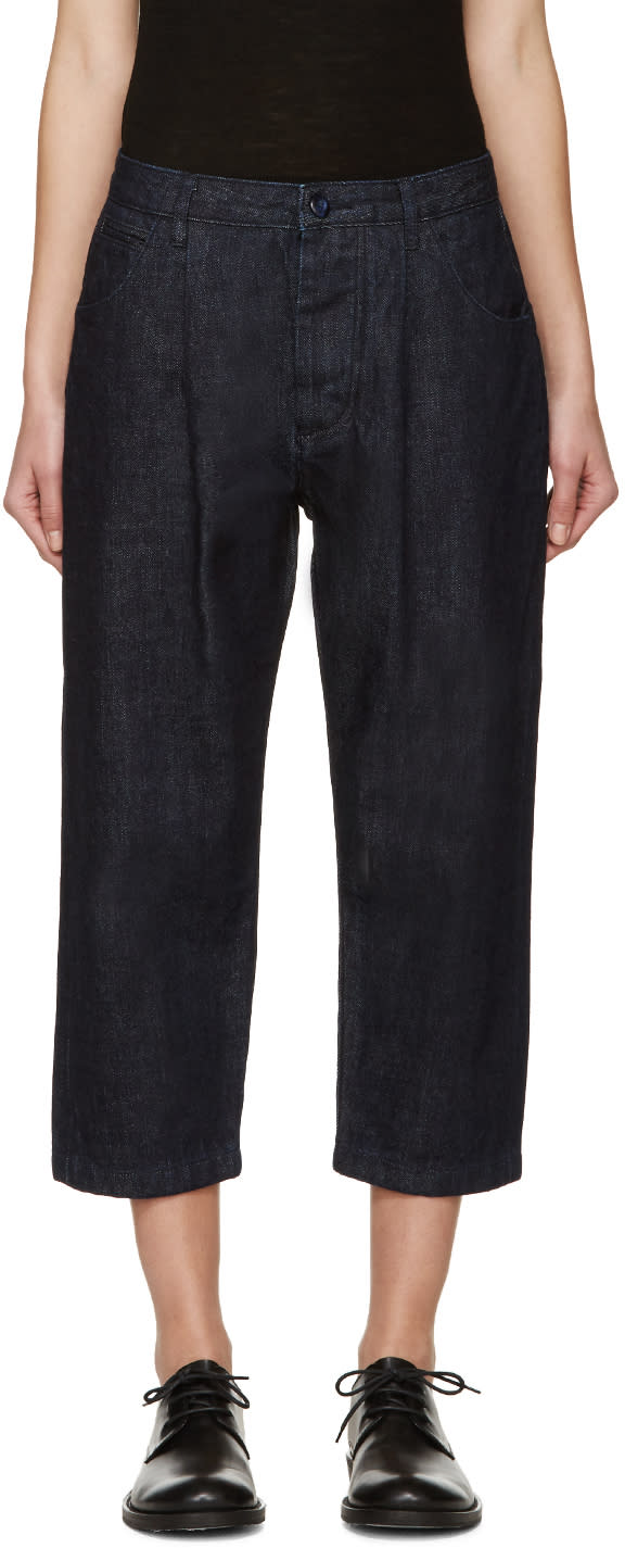 Studio Nicholson Blue Alfini Pleated Denim Trousers